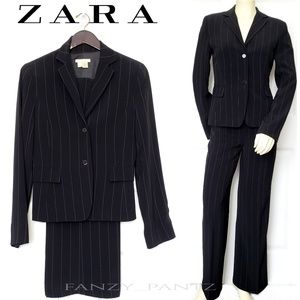 Zara blazer & trouser pants suit size 6 pinstripe